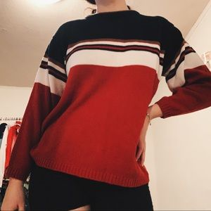 🌈Vintage Red and White Striped Sweater